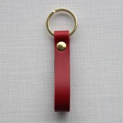 Nøglering Læder Rød Messing Fjorden