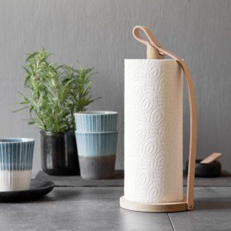 Køkkenrulleholder fra by Wirth i egetræ og læder