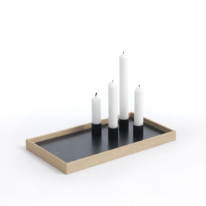 Candle Tray bakke i eg og sort fra The Oak Men